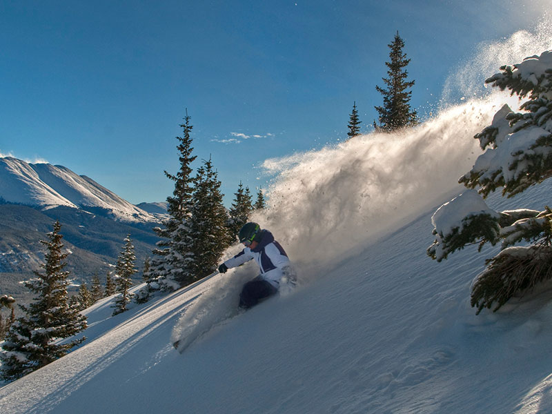 Man powder skiing at Breckenridge