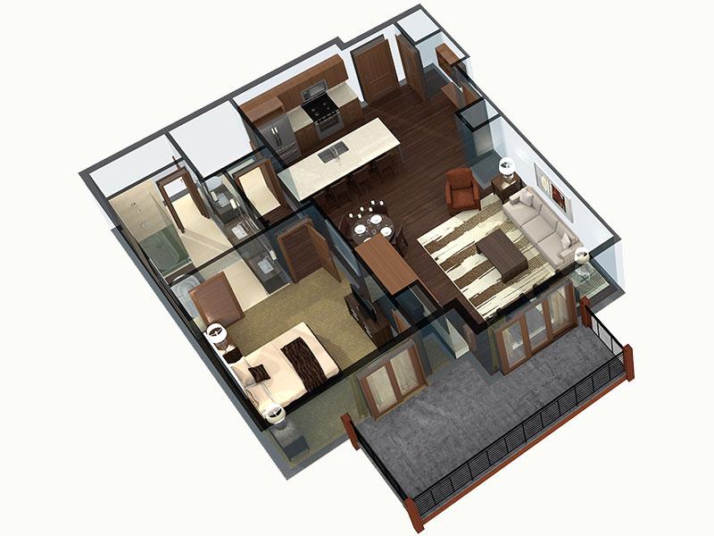 1 bedroom Breckenridge residence floor plan