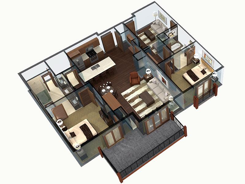2 bedroom Breckenridge residence floor plan