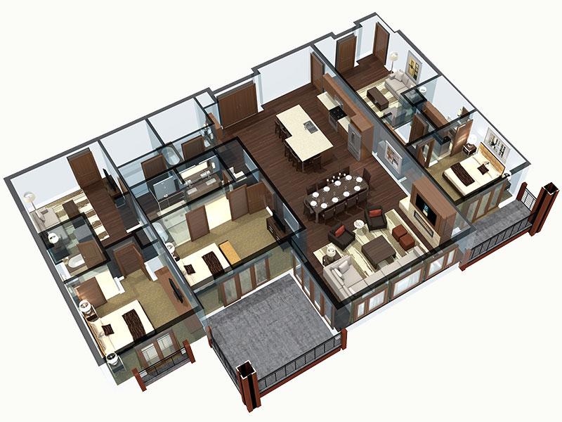 3 bedroom Colorado residence floor plan