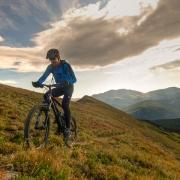 mountain biking in the vast mountains