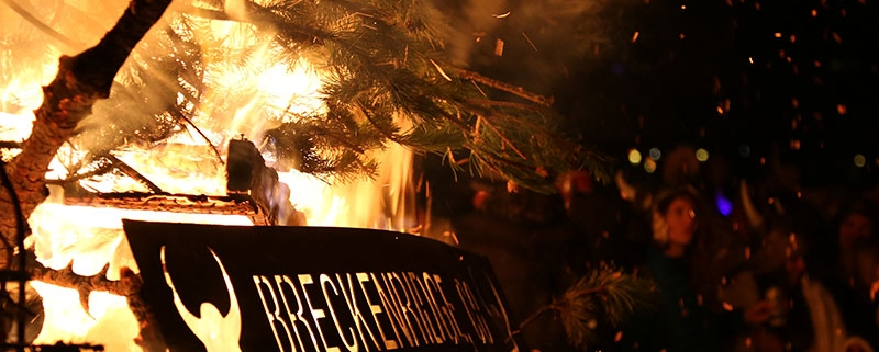 Ullr Fest with a bonfire and christmas tree burning